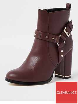 river-island-harness-detail-ankle-boot-dark-red