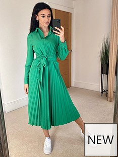 michelle-keegan-pleated-skirt-midi-shirt-dress-green