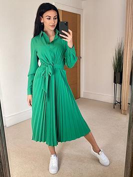 michelle-keegan-pleated-skirt-midi-shirt-dress-green