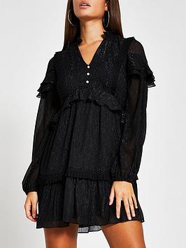 river-island-dobby-frill-mini-tea-dress-black