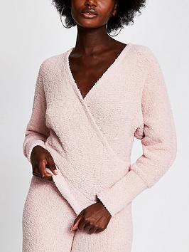 river-island-wrap-fluffy-loungewear-top-co-ord-light-pink