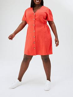 v-by-very-curve-button-through-linen-mix-mini-dress-red