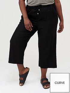 v-by-very-curve-linen-cropped-trouser-black