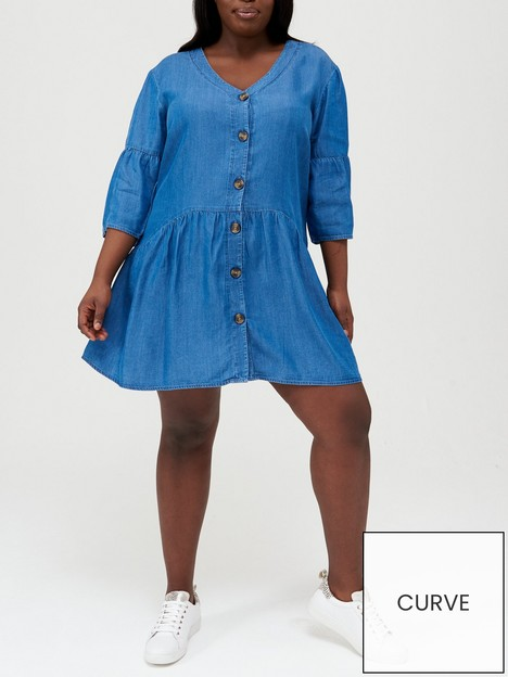 v-by-very-curve-smocked-soft-touch-denim-dress-blue