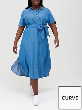 v-by-very-curve-short-sleeve-soft-touch-denim-midi-shirt-dress-blue
