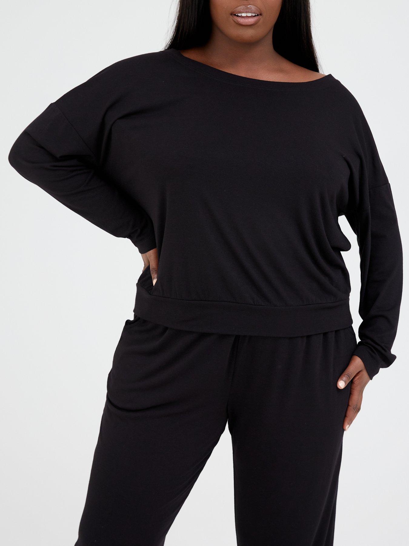 UK Women Studded Lounge Wear Set Cold Shoulder Tops Pants Long Sleeve Comfy Suit