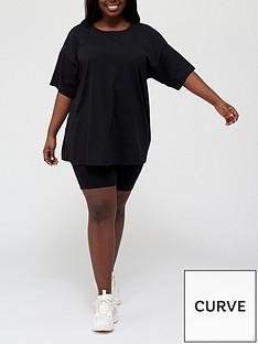 v-by-very-curve-oversized-v-neck-t-shirt-amp-cycling-short-set-blacknbsp
