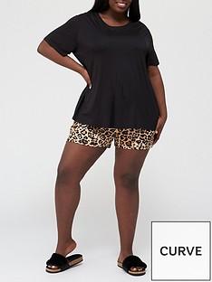 v-by-very-curve-t-shirtnbspamp-short-pyjama-set-blackprintnbsp