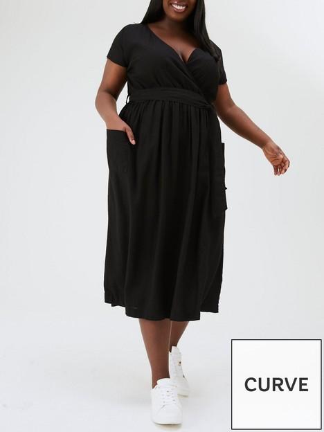 v-by-very-curve-viscose-wrap-belted-midi-dress-black