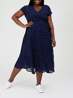 v-by-very-curve-pleated-skirt-midi-dress-navy-spotnbsp