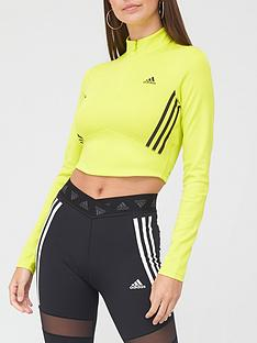 adidas-badge-of-sport-crop-long-sleeve-t-shirt-yellowblacknbsp