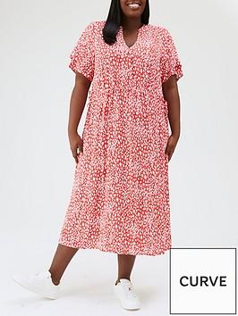 v-by-very-curve-printed-angel-sleeve-midi-shirt-dress-redanimal