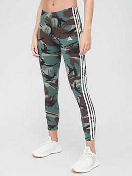 Adidas Camo 7/8 Leggings - Khaki , Khaki, Size 2Xs, Women