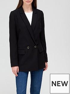 v-by-very-lownbspdouble-breastednbspstraight-blazer-black