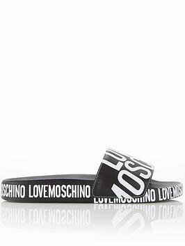 Love Moschino Large Logo Sliders - Black