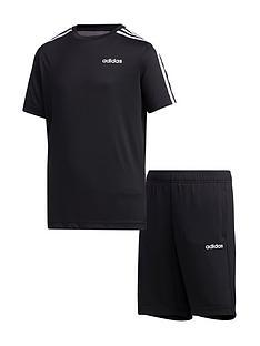 adidas-youth-boys-3-stripe-training-short-set-blacknbsp