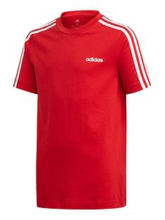 adidas-youth-boys-essentials-3-stripe-t-shirt-redwhite