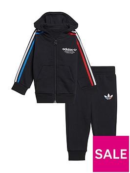 adidas-originals-infants-adicolor-full-zip-hoodie-set-black