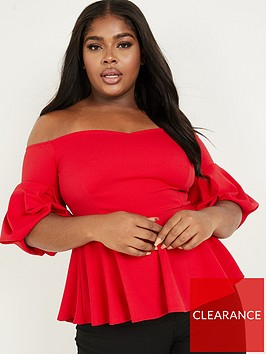 quiz-curve-quiz-curve-bright-red-puff-sleeve-bardot-top