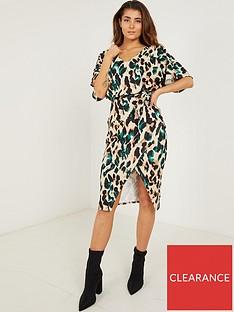 quiz-quiz-stone-bottle-green-leopard-print-batwing-midi-dress