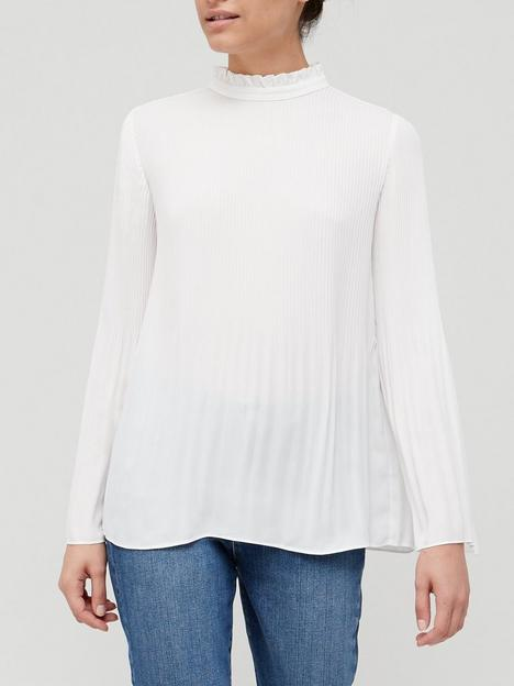 v-by-very-plisse-sleeve-detail-blouse-ivory