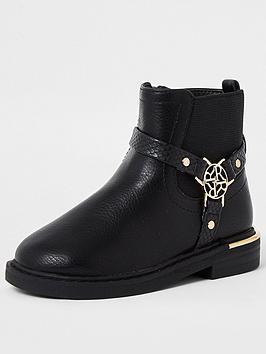 river-island-mini-mini-girls-harness-ankle-boots--nbspblack
