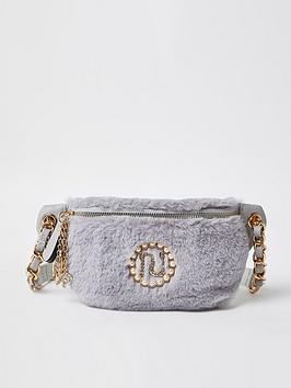 river-island-girls-faux-fur-bumbag-grey