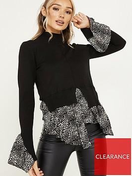 quiz-knit-high-neck-fluted-animal-print-shirt-underlay-jumper-black