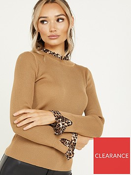 quiz-knit-high-neck-leopard-print-underlay-jumper-tan