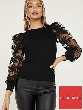 quiz-knit-lace-puff-jumper-black