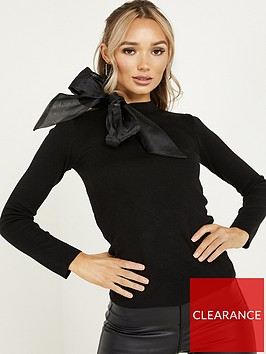 quiz-knit-satin-bow-neck-jumper-black