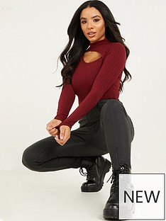 quiz-ribbed-cut-out-long-sleeve-bodysuit-berry
