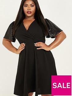 quiz-curve-sequin-sparkle-sleeve-skater-dress-black
