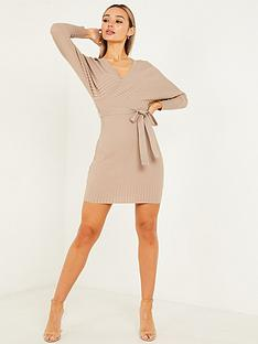quiz-rib-knit-v-neck-batwing-long-sleeve-jumper-dress-mochanbsp
