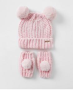 river-island-mini-mini-girls-knitted-hat-and-glove-set-pink