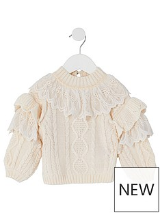 river-island-mini-girls-lace-fril-knitted-jumper--nbspcream