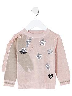 river-island-mini-girls-sequin-unicorn-knitted-jumper-pink