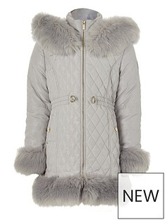 river-island-girls-quilted-faux-fur-trim-coat--nbspgrey
