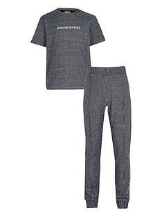 river-island-boys-maison-checked-riviera-t-shirt-and-jog-pants-blue