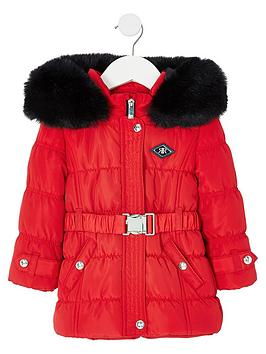 river-island-mini-mini-girls-ruched-coated-coat-red