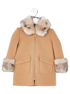 river-island-mini-mini-girls-faux-fur-trim-coat--nbspbeige