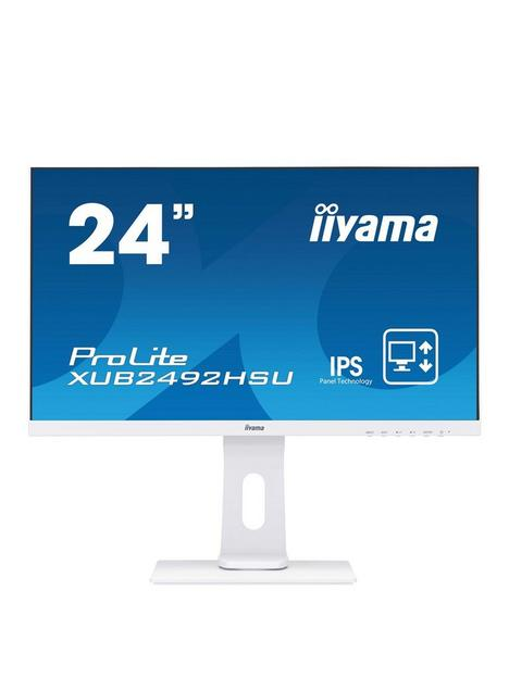iiyama-prolite-xub2492hsu-w1-24-ips-full-hd-white-ultra-slim-bezel-hdmi-display-port-usb-hub-height-adjustable