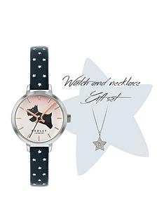 radley-blush-and-blue-dog-dial-blue-star-print-strap-ladies-watch-and-necklace-gift-set