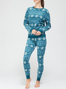 hunkemoller-fairisle-print-fleece-pyjama-set-teal