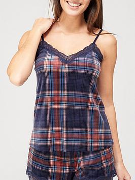 hunkemoller-hunkemoller-velour-check-pyjama-set-teal