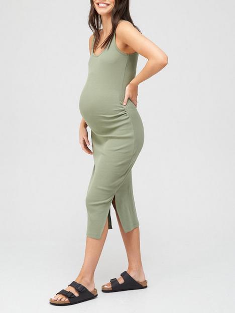 v-by-very-rib-vest-dress-maternity-olive