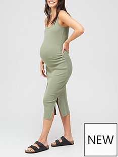 v-by-very-rib-vest-dress-maternity-olive