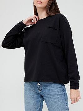 V By Very Cropped Pocket Crew Neck Sweat