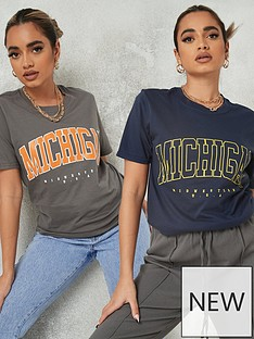 missguided-missguided-2-pack-michigan-graphic-short-sleeve-t-shirt-navy