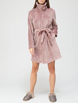 hunkemoller-zip-fleece-embossed-rib-robe-mauve